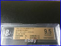 1992 Stadium Club Beam Team (members Only) Michael Jordan Bgs 9.5 Psa 10