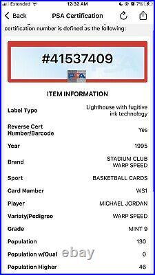 1995 Stadium Club Michael Jordan WARP SPEED refractor #WS1 PSA 9 Mint