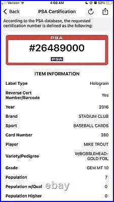 2016 Topps Stadium Club Mike Trout GOLD FOIL WithBobblehead PSA 10 Gem POP 7