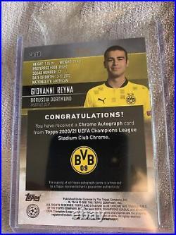 2020-21 Topps Stadium Club Chrome Giovanni Reyna Orange Prism Auto /50 Dortmund
