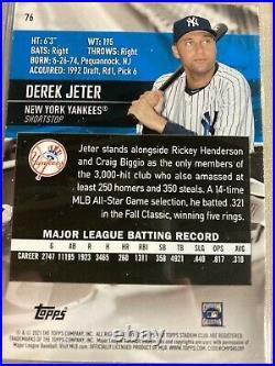 2021 Stadium Club Baseball Derek Jeter Photo Variation SSP #76 New York Yankees