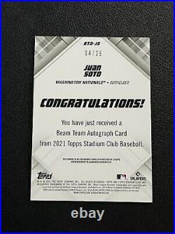 2021 Topps Stadium Club Baseball Juan Soto Auto Beam Team /25 Nationals