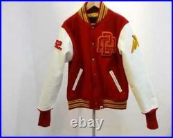 A BATHING APE NFS limited edition sleeve leather Stadium jacket Red&White used