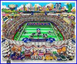 Charles Fazzino New York Giants FRAMED Signed & # Pop Art Football NFL Stadium