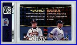 Derek Jeter Chipper Jones 1999 Stadium Club Co-Signers PSA 9 MINT AUTO Autograph
