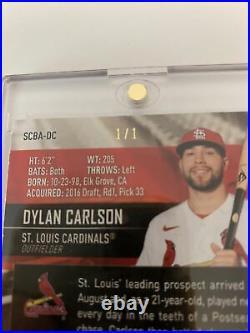 Dylan Carlson 2021 Topps Stadium Club Gold Rainbow 1/1 Auto RC. CARDINALS