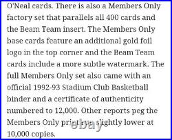 Final Sale 92-93 Stadium Club B-ball Members Only Sealed Set Beam Team Shaq