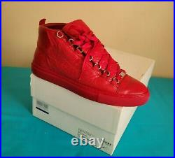 Men's Authentic Balenciaga Arena High Red Leather Shoes Sneakers Size 9 US