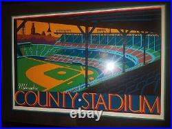Milwaukee County Stadium Signed & Numbered Print by Artist John T. McCarthy Jr