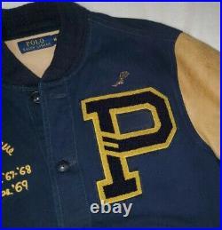 Polo Ralph Lauren Limited Bulldog Leather Varsity Letterman Jacket rrl stadium M