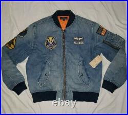 Polo Ralph Lauren Limited Denim Military Patch Flight Bomber Jacket stadium L