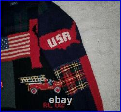 Polo Ralph Lauren Limited Edition 2002 9/11 Stadium Wool Patchwork Sweater L
