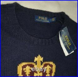Polo Ralph Lauren Limited Edition Crest Bear Preppy Stadium Knit Sweater rrl M
