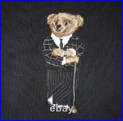 Polo Ralph Lauren Limited Edition Flag Golf Bear Stadium Knit Sweater rare M