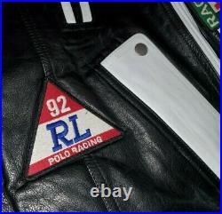 Polo Ralph Lauren Motorcycle Racing 92 Stadium Black Leather Jacket rrl vtg L