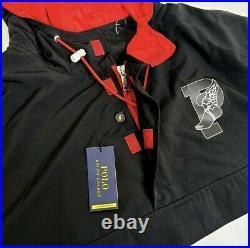 Polo Ralph Lauren P-Wing 1967 Stadium Jacket Black Red Hi Tech Mens Size XL