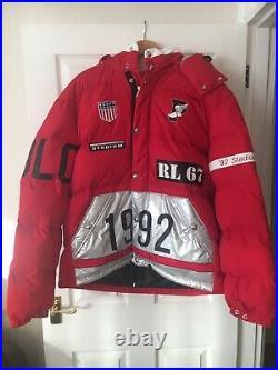 Polo Ralph Lauren Winter Stadium 1992 Down Puffer Jacket Red Silver XL RRP £779