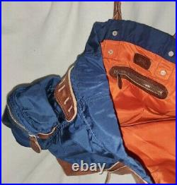 Polo Ralph Lauren Yosemite Navy Blue Leather Carry On Tote rrl stadium rare