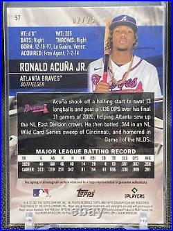 Ronald Acuna Jr Auto Chrome 02 / 25 2021 Topps Stadium Club #57 Parallel! Braves